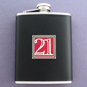 Lucky 21 Black Leather Wrapped 6 Oz. Flasks