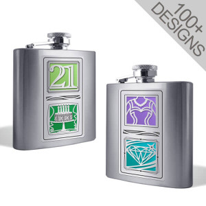 Cool Flasks Personalized with 2 Designs 6 OZ