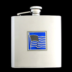 Patriotic American Flag Liquor Flask 6 Oz. Polished