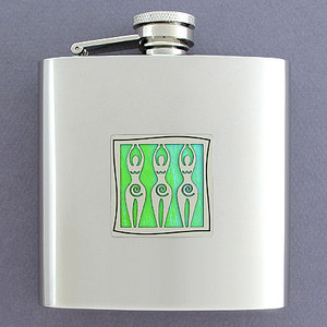 Three Venus Goddess 6 Oz Drinking Flasks