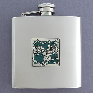 Personalized Eagle Liquor Flask 6 Oz. Polished