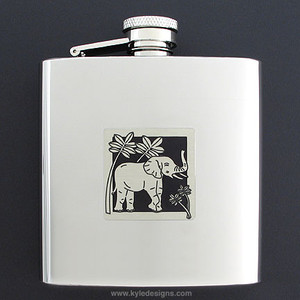 Asian Elephant 6 Oz Drinking Flasks
