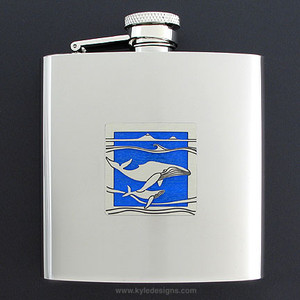 Whales Drinking Flask 6 Oz. Stainless Steel