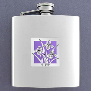 Iris Flowers 6 Oz Drinking Flasks