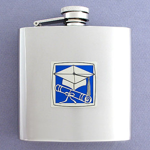 Graduate Cap Drinking Flask 6 Oz. Mirror Finish