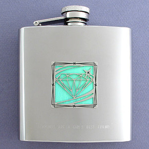 Diamond Design 6 Oz Drinking Flasks