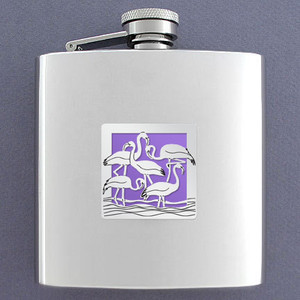 Flamingo Drinking Flask 6 Oz. Stainless Steel