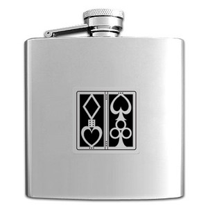 Poker Stainless Steel Drinking Flask 6 Oz. Mirror Finish