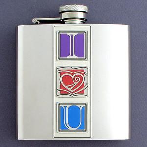 "Romantic ""I Love You"" 6 Oz. Flasks"