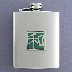 Harmony Asian Character Flask in 8 Oz. Stainless Steel