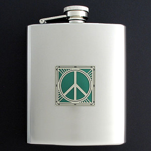 Peace Sign Flask in 8 Oz. Stainless Steel