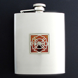 Firefighter Flasks in 8 Oz. Stainless Steel
