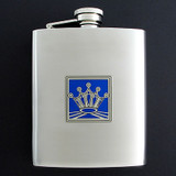 8 Oz. King or Queen Flasks in Crown Design