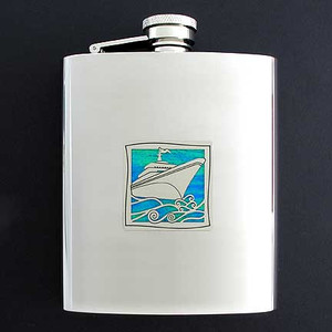 Personalized Cruise Ship Flask 8 Oz. Stainless Steel