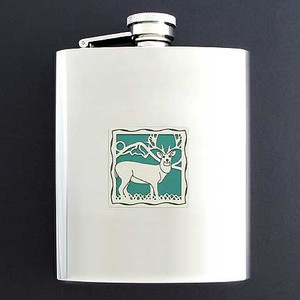 Personalized Hunting Flask with Buck 8 Oz.