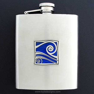 """Hang Loose"" Wave Flasks 8 Oz. Stainless Steel"