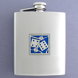 Dice Flask 8 Oz. Mirror Finish Stainless Steel