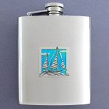 Nautical Sailboat Flasks 8 Oz. Stainless Steel