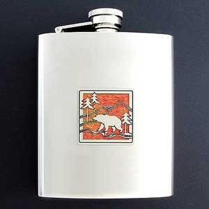 Stainless Steel Black Bear Flask 8 Oz. Mirror Finish