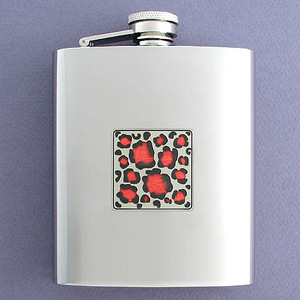 Leopard Print Flasks in 8 Oz. Stainless Steel
