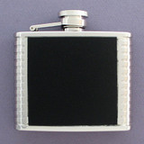 4 Oz Black Leather Flask in Stainless Steel with Ribbed Edges