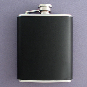 6 Ounce Black Leather Wrapped Hip Flask