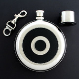 Black Leather Engraved Round Stainless Flask with Cup