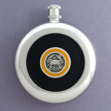 Crab Round Black Leather Flask with Belt Hook
