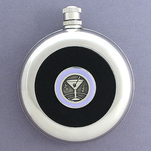 Martini Round Black Leather Flask with Belt Hook