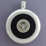 Ox Round Black Leather Flask with Belt Hook