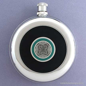 Celtic Round Black Leather Flask with Belt Hook