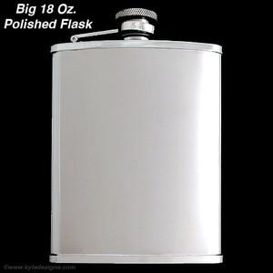 18 Oz. Stainless Steel Large Flasks for Liquor