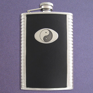 Yin Yang 8 Ounce Black Leather Flask