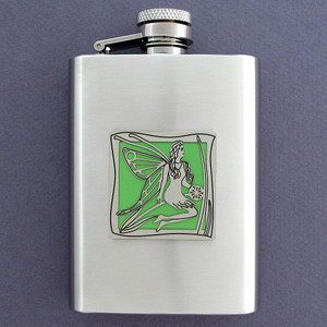 Fine 3 Oz Brushed Stainless Steel Fairy Flasks