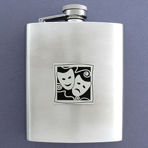Actor's Dramatic Arts Flask in 8 Oz. Stainless Steel