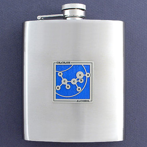Stylish Alcohol Themed 8 Oz. Stainless Steel Flask