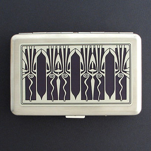 Silver & Black Retro Art Deco Metal Wallet