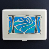 Abstract Shell Large Credit Card Wallet or Cigarette Case