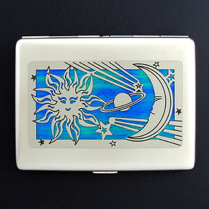 Sun and Moon Large Cigarette Case or Credit Card Wallet