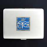 Egyptian Eye Cigarette Case or Metal Wallet
