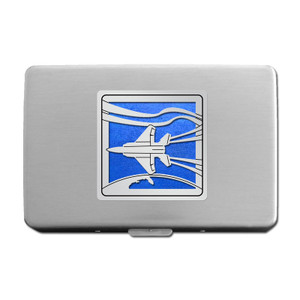 Jet Airplane Cigarette Case or Metal Wallet