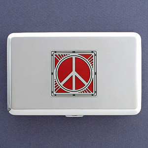 Peace Sign Metal Credit Card Wallets or Cigarette Cases