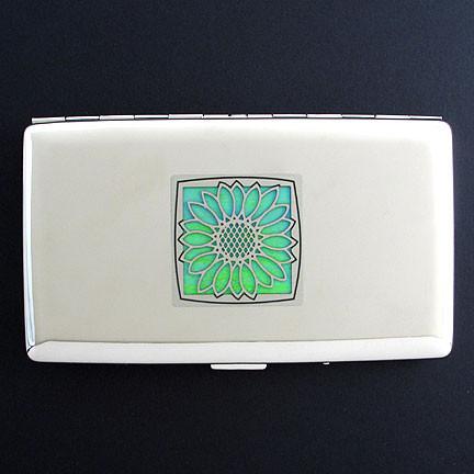 new style 5c302 2b7dd Sunflower Metal Cigarette Case Wallet