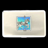 Carousel Horse Metal Wallet Cigarette Cases