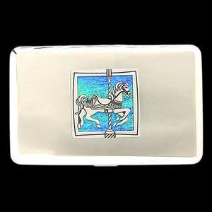 Carousel Horse Metal Wallet Cigarette Cases