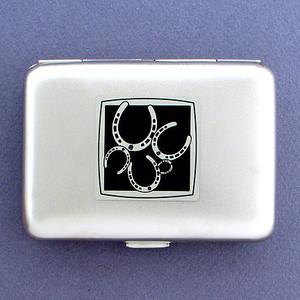 Horseshoe Metal Credit Card Wallet or Cigarette Case