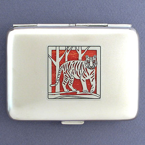 Tiger Metal Credit Card Wallet or Cigarette Case