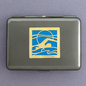 Swimming Metal Credit Card Case Wallet