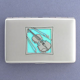 Violin Metal Wallet or Cigarette Case