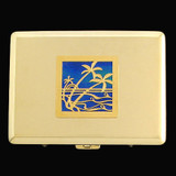Gold Palm Tree Metal Wallet or Cigarette Case
